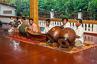 Cambodia, Siem Reap.  Khmer Orchestra Playing at Preah Ang Chek and Preah Ang Chorm Temple.