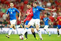 Spain's Alvaro Morata (c) and Italy's Leonardo Bonucci (l) and Andrea Barzagli during FIFA World Cup 2018 Qualifying Round match. September 2,2017.(ALTERPHOTOS/Acero)