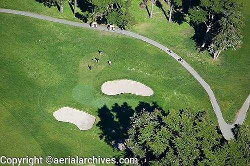 aerial photograph of a golf course in the Presidio, San Francisco, California