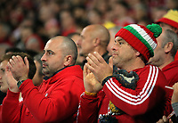 Wales supporters applaud during the FIFA World Cup Qualifier Group D match between Wales and Republic of Ireland at The Cardiff City Stadium, Wales, UK. Monday 09 October 2017