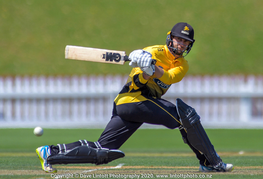 Devon Conway bats during the Ford Trophy one-day cricket match between the Wellington Firebirds and Central Stags at Basin Reserve in Wellington, New Zealand on Wednesday, 5 February 2020. Photo: Dave Lintott / lintottphoto.co.nz