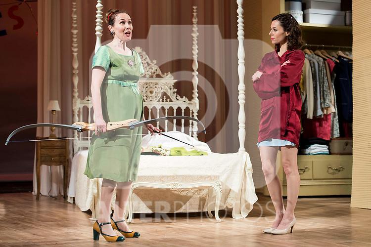 """Marta Molina and Begoña Maestre during theater play of """"Una gata sobre un tejado de Cinc caliente"""" at Reina Victoria theater in Madrid, Spain. March 15, 2017. (ALTERPHOTOS/BorjaB.Hojas)"""