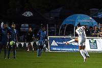 Kansas City, MO - Saturday May 28, 2016: FC Kansas City midfielder Yael Averbuch (10) scores a goal off a free kick against the Orlando Pride during a regular season National Women's Soccer League (NWSL) match at Swope Soccer Village.  Kansas City won 2-0.
