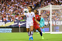 PHILADELPHIA, PA - AUGUST 29: Jéssica Silva #10 of Portugal is defended byCrystal Dunn #19 of the United States during a game between Portugal and USWNT at Lincoln Financial Field on August 29, 2019 in Philadelphia, PA.