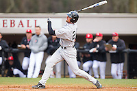 Charlie Morgan (24) of the Wake Forest Demon Deacons connects for a 2-run home run against the Davidson Wildcats at Wilson Field on March 19, 2014 in Davidson, North Carolina.  The Wildcats defeated the Demon Deacons 7-6.  (Brian Westerholt/Four Seam Images)