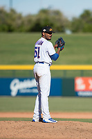 Mesa Solar Sox relief pitcher Manuel Rondon (51), of the Chicago Cubs organization, gets ready to deliver a pitch during an Arizona Fall League game against the Surprise Saguaros at Sloan Park on November 1, 2018 in Mesa, Arizona. Surprise defeated Mesa 5-4 . (Zachary Lucy/Four Seam Images)