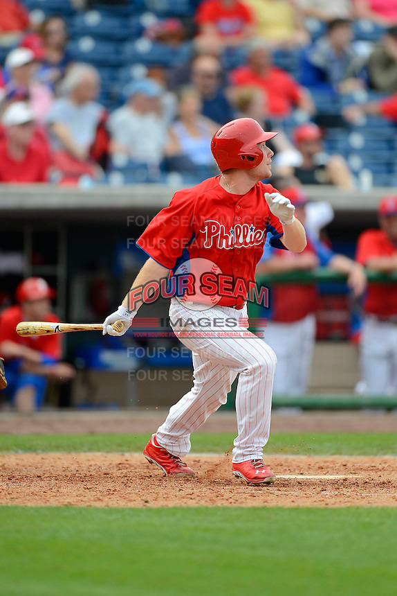 Philadelphia Phillies third baseman Cody Asche #72 during a Spring Training game against the New York Yankees at Bright House Field on February 26, 2013 in Clearwater, Florida.  Philadelphia defeated New York 4-3.  (Mike Janes/Four Seam Images)