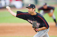 Relief pitcher Ryan Kussmaul #38 of the Kannapolis Intimidators in action against the Hickory Crawdads at  L.P. Frans Stadium August 1, 2010, in Hickory, North Carolina.  Photo by Brian Westerholt / Four Seam Images