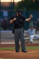 Home plate umpire Tyler Wall calls a batter out on strikes during an Arizona League game between the AZL Padres 1 and AZL Indians Red on June 23, 2019 at the Cleveland Indians Training Complex in Goodyear, Arizona. AZL Indians Red defeated the AZL Padres 1 3-2. (Zachary Lucy/Four Seam Images)