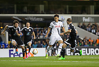 Son Heung-Min of Tottenham Hotspur plays a pass past three Qarabag players during the UEFA Europa League match between Tottenham Hotspur and Qarabag FK at White Hart Lane, London, England on 17 September 2015. Photo by Andy Rowland.