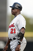 Brevard County Manatees coach Reggie Williams (21) during a game against the Dunedin Blue Jays on April 23, 2015 at Florida Auto Exchange Stadium in Dunedin, Florida.  Brevard County defeated Dunedin 10-6.  (Mike Janes/Four Seam Images)