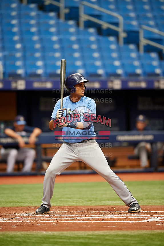 Carlos Vargas (21) at bat during the Tampa Bay Rays Instructional League Intrasquad World Series game on October 3, 2018 at the Tropicana Field in St. Petersburg, Florida.  (Mike Janes/Four Seam Images)