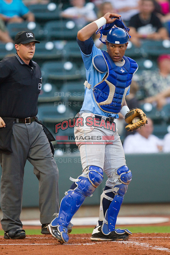 Catcher Salvador Perez #39 of the Wilmington Blue Rocks on defense against the Winston-Salem Dash at  BB&T Ballpark August 4, 2010, in Winston-Salem, North Carolina.  Photo by Brian Westerholt / Four Seam Images