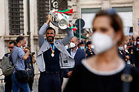 Salvatore Sirigu during the visit of the Italian National team at Palazzo Chigi, where the athletes met the Italian Premier after winning the UEFA Euro 2020 cup.<br /> Rome (Italy), July 12th 2021<br /> Photo Samantha Zucchi Insidefoto