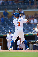 Nick Solak (3) of the Durham Bulls at bat against the Columbus Clippers at Durham Bulls Athletic Park on June 1, 2019 in Durham, North Carolina. The Bulls defeated the Clippers 11-5 in game one of a doubleheader. (Brian Westerholt/Four Seam Images)