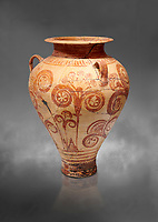 Minoan decorated pithos stirrup jar with floral design , Zafer Papoura 1400-1250 BC; Heraklion Archaeological Museum, grey background