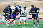 San Diego, CA 05/25/13 - Henry Gardener (Carlsbad #7), Robert Sweeney  (Carlsbad #11) and Luke Seydel (Westview #14) in action during the 2013 Boys Lacrosse San Diego CIF DIvision 1 Championship game.  Westview defeated Carlsbad 8-3.