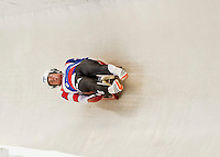 4 December 2015: Jake Hyrns and Anthony Espinoza, sliding for the United States of America, bank into a turn on their first run of the Doubles Competition during the Viessmann Luge World Cup Series at the Olympic Sports Track in Lake Placid, New York, USA. Mandatory Credit: Ed Wolfstein Photo *** RAW (NEF) Image File Available ***