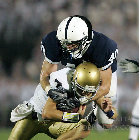 State College, PA -- 09/8/2007 -- Nittany Lion linebacker Dan Connor sacks Irish quarterback Jimmy Clausen.  Penn State defeated Notre Dame by a score of 31-10 on Saturday, September 8, 2007, at Beaver Stadium.   ..Photo:  Joe Rokita / JoeRokita.com..Photo ©2007 Joe Rokita Photography