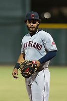 AZL Indians 2 first baseman Felix Fernandez (9) during an Arizona League game against the AZL Cubs 2 at Sloan Park on August 2, 2018 in Mesa, Arizona. The AZL Indians 2 defeated the AZL Cubs 2 by a score of 9-8. (Zachary Lucy/Four Seam Images)