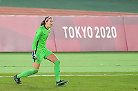 YOKOHAMA, JAPAN - AUGUST 6: Stephanie Labbe #1 of Canada celebrates during PK shootout during a game between Canada and Sweden at International Stadium Yokohama on August 6, 2021 in Yokohama, Japan.