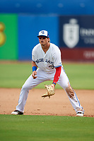 Dunedin Blue Jays first baseman Kacy Clemens (24) during a game against the Lakeland Flying Tigers on May 27, 2018 at Dunedin Stadium in Dunedin, Florida.  Lakeland defeated Dunedin 2-1.  (Mike Janes/Four Seam Images)
