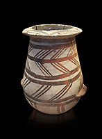 Cycladic pithos with geometric designs.  Early Cycladic III (2300-2000 BC) , Phylakopi, Melos. National Archaeological Museum Athens. Cat No 5831. Black background.<br /> <br /> <br /> During this period pottery was plainer with simple geometric decorations. Depicts of birds or lowers were rare.