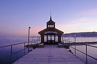 USA, New York, Watkin's Glen, Seneca Lake, Boathouse for Ferry service on Lake Seneca at dawn