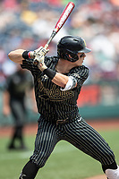 Vanderbilt Commodores shortstop Ethan Paul (10) at bat during Game 8 of the NCAA College World Series against the Mississippi State Bulldogs on June 19, 2019 at TD Ameritrade Park in Omaha, Nebraska. Vanderbilt defeated Mississippi State 6-3. (Andrew Woolley/Four Seam Images)