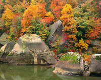 Fall color along the Cumberland River; Cumberland Falls State Park, KY