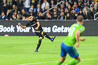 Los Angeles, CA - October 24, 2019.  Seattle Sounders FC defeated LAFC 3 - 1 in the Western Conference Championship match at Banc of California Stadium in Los Angeles.  Eduard Atuesta scored LAFC's goal.