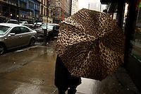 Leopard print umbrella; Broadway at East 21st St.; 212pm, 02March2006