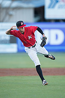 Kannapolis Intimidators third baseman Zach Remillard (8) makes a throw to first base against the Lakewood BlueClaws at Kannapolis Intimidators Stadium on April 8, 2017 in Kannapolis, North Carolina.  The BlueClaws defeated the Intimidators 8-4 in 10 innings.  (Brian Westerholt/Four Seam Images)