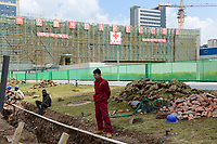 ETHIOPIA Addis Ababa, AU African Union building, construction of extension AFECC African Union Integrated Service Center, build by chinese construction company with China Aid / AETHIOPIEN, Addis Abeba, Gebaeude der AU Afrikanischen Union, Erweiterungsbau AFECC durch chinesische Baufirma mit Hilfe von China Aid