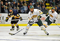 16 November 2008: University of Vermont Catamount forward Josh Franklin, a Sophomore from Wrentham, MA, in action against the Merrimack College Warriors at Gutterson Fieldhouse, in Burlington, Vermont. The Catamounts defeated the Warriors 2-1 in front of a near-capacity crowd of 3,813...Mandatory Photo Credit: Ed Wolfstein Photo