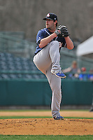 John Anderson (21) of the New Hampshire Fisher Cats delivers a pitch during a game between the New Britain Rock Cats and the New Hampshire Fisher Cats at New Britain Stadium on April 19,2015 in New Britain, Connecticut.<br /> (Gregory Vasil/Four Seam Images)