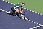 Grigor Dimitrov (BUL) upsets no. 1 seed Daniil Medvedev (RUS) in 3 sets, 4-6, 6-4, 6-3, at the BNP Paribas Open being played at Indian Wells Tennis Garden in Indian Wells, California on October 13,2021: ©Karla Kinne/Tennisclix/CSM