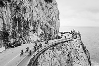 breakaway group rolling along the Mediterranean <br /> <br /> 109th Milano-Sanremo 2018<br /> Milano > Sanremo (291km)