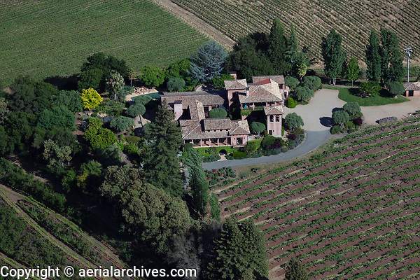 aerial photograph of a mountainside residence, northern Napa County, California