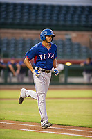 AZL Rangers center fielder Bubba Thompson (29) jogs to first base after a walk against the AZL Giants on August 22 at Scottsdale Stadium in Scottsdale, Arizona. AZL Rangers defeated the AZL Giants 7-5. (Zachary Lucy/Four Seam Images)