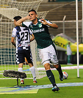 PALMIRA - COLOMBIA - 14 - 02 - 2018: Nicolas Benedetti, jugador de Deportivo Cali celebra el gol anotado a Boyaca Chico F. C., durante partido de la fecha 3 por la liga Aguila I 2018, jugado en el estadio Deportivo Cali (Palmaseca) en la ciudad de Palmira. / Nicolas Benedetti, player of Deportivo Cali celebrates a scored goal to Boyaca Chico F. C., during a match of the 3rd date for the Liga Aguila I 2018, at the Deportivo Cali (Palmaseca) stadium in Palmira city. Photo: VizzorImage  / Nelson Rios / Cont.
