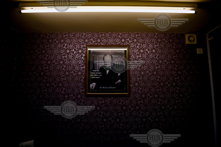A picture of Winston Churchill adorns the purple walls of the UKIP office in Segdley, nr Dudley, West Midlands.