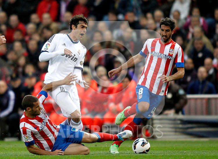 Real Madrid's Kaka Atletico's Diego Costa, Raul Garcia  during La Liga BBVA match. April 27, 2013.(ALTERPHOTOS/Alconada)
