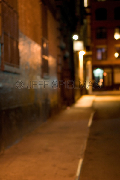 Defocused View of a Dark Alley at Night, Lower Manhattan, New York City, New York State, USA<br />