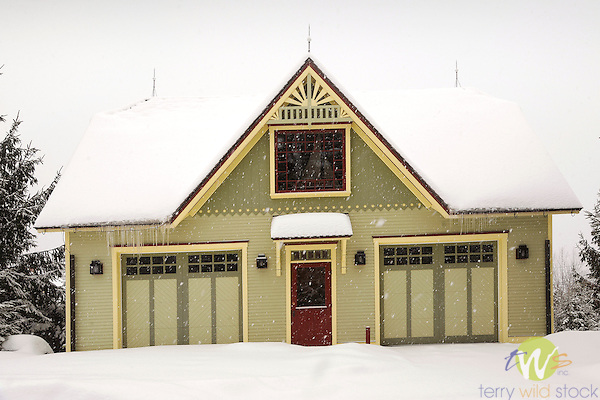 Colorful garage in winter snow, Eagles Mere, PA. Mark Stitzer- owner.