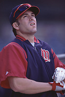 Doug Mientkiewicz of the Minnesota Twins during a 2001 season MLB game at Angel Stadium in Anaheim, California. (Larry Goren/Four Seam Images)