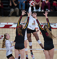 STANFORD, CA - November 15, 2017: Tami Alade at Maples Pavilion. The Stanford Cardinal defeated USC 3-0 to claim the Pac-12 conference title.