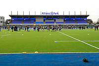 20130216 Copyright onEdition 2013©.Free for editorial use image, please credit: onEdition..General view of the West Stand before the Premiership Rugby match between Saracens and Exeter Chiefs at Allianz Park on Saturday 16th February 2013 (Photo by Rob Munro)..For press contacts contact: Sam Feasey at brandRapport on M: +44 (0)7717 757114 E: SFeasey@brand-rapport.com..If you require a higher resolution image or you have any other onEdition photographic enquiries, please contact onEdition on 0845 900 2 900 or email info@onEdition.com.This image is copyright onEdition 2013©..This image has been supplied by onEdition and must be credited onEdition. The author is asserting his full Moral rights in relation to the publication of this image. Rights for onward transmission of any image or file is not granted or implied. Changing or deleting Copyright information is illegal as specified in the Copyright, Design and Patents Act 1988. If you are in any way unsure of your right to publish this image please contact onEdition on 0845 900 2 900 or email info@onEdition.com