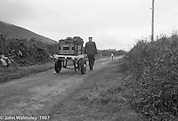 """Donkey cart, Dunquin (in Gaelic, Dún Chaoin, meaning """"Caon's stronghold""""), on the tip of the Dingle Peninsula, County Kerry, Ireland.  1971."""