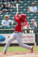 Memphis Redbirds outfielder Oscar Taveras #15 swings the bat during the Pacific Coast League baseball game against the Round Rock Express on April 27, 2014 at the Dell Diamond in Round Rock, Texas. The Express defeated the Redbirds 6-2. (Andrew Woolley/Four Seam Images)